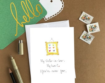 Miss You Card/Sister-In-Law Card/A2/4.25x5.5 Greeting Card/Stationery Size