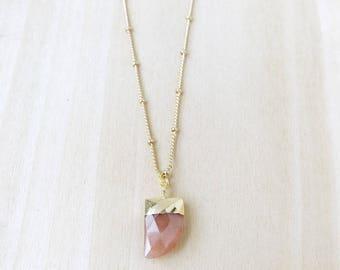 Mini Sunstone Tusk Necklace, Tiny Sunstone Horn Necklace, Small Horn Necklace, Dainty Tusk Necklace, Layering Necklace