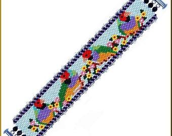 Beautiful 4 Finches Peyote Bracelet Pattern