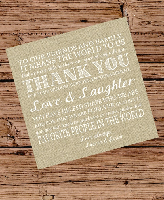 Thank You Letter For Wedding Invitation: Items Similar To Burlap Wedding Invitation Or Reception