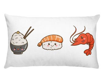 Sushi family rectangular pillow