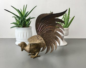 vintage brass fighting cock rooster bird figurine
