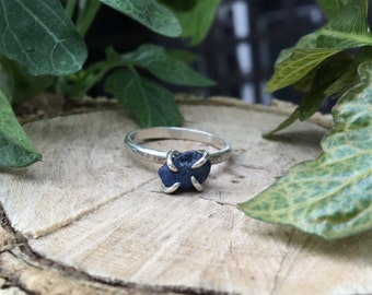Rough sapphire sterling silver ring / blue sapphire birthstone jewelry