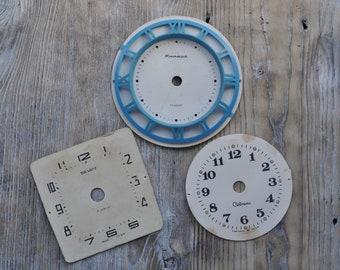 Vintage Soviet Russian cardboard alarm clock faces dials. Set of 3.