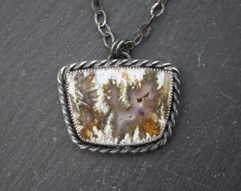Linda Marie Plume Agate, Sterling Silver, Pendant