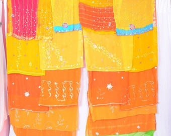 Bohemian Gypsy Curtain curtains boho curtains scarfs multicolor orange yellow embroidery C40