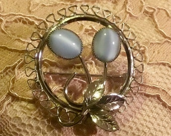 Beautiful Vintage Silver Toned Delicate Pin with Blue Satin Glass Stone Flowers
