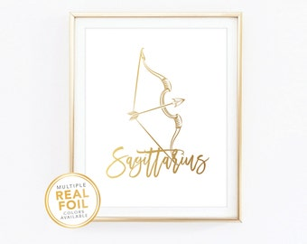 Sagittarius Zodiac Sign Constellation - Gold foil print, Real Foil Print, Home Decor, Wall Art, Gallery wall 4x6 5x7 8x10 8.5x11