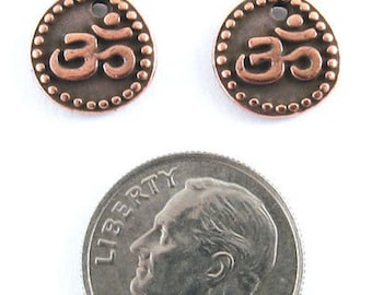 TierraCast Pewter Om Coin Charms-2-SIDED Copper OHM AUM (2)