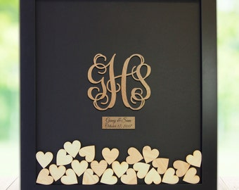 Wedding Guest Book Alternative Drop Box Wedding Box Wishes Guest Book Guestbook Hearts Drop Box Custom Guest Book Guestbook Frame / Monogram