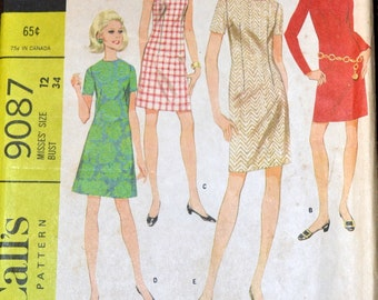 Vintage 60's Sheath Dress Sewing Pattern McCall's 9087 Sheath Dress Bust 34  inches Complete Uncut