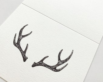 Hand Illustrated Pen and Ink Deer Antler Greeting Card