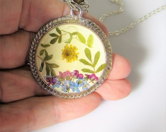Garden on Ivory, Pressed Flower Pendant, Real Flower Necklace,  Resin (3126)