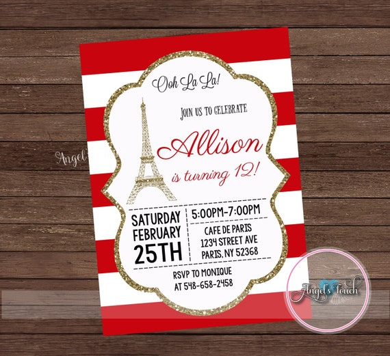 Paris Party Invitation Paris Red and Gold Birthday Party Invitation