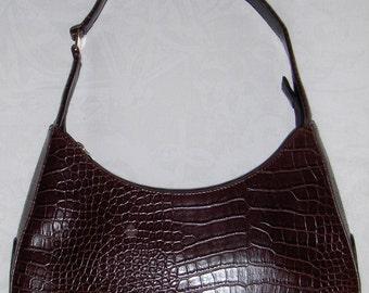 Vintage SACATINI brown and black faux leather shoulder bag/ Brown faux alligator shoulder purse/ Retro brown handbag