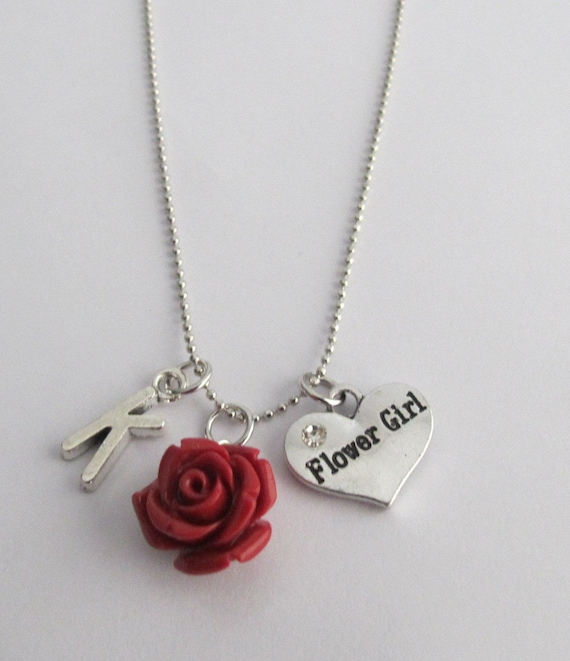 Personalized Flower Girl Necklace with Initial and Resin Rose Charm,Flower Girl Necklace, Will you be my flower girl gift, Free Shipping USA