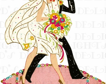 Jazz Age Flapper BRIDE and GROOM Place Card. 1920s Bride Vintage Illustration. Art Deco Wedding  DIGITAL Download. Perfect For Invites