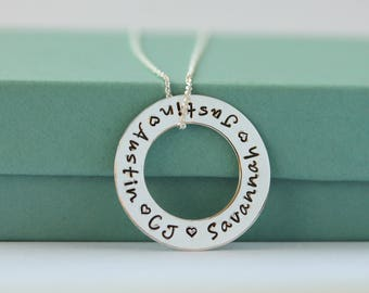 Personalized Infinity Necklace - Hand Stamped Mothers Necklace - Hand Stamped Silver Necklace - Personalized Name Necklace - Mom Jewelry -