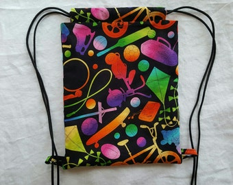 Kids Drawstring Backpack - Bright Sports Fabric