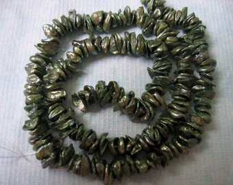 Center Drilled Oliver Green Keishi Freshwater Pearls - 15.5 Inch Strand