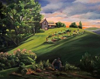 Vermont Gardens  Framed Landscape Oil Painting