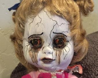 Sleepy Sara - OOAK Creepy Cute Hand Painted Goth Art Doll