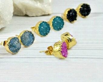 Druzy Earrings, Druzy Studs, Druzy Stud Earrings, Minimalist Earrings, Gemstone earrings, Raw Stone Jewelry, Crystal Earrings, Gold earrings