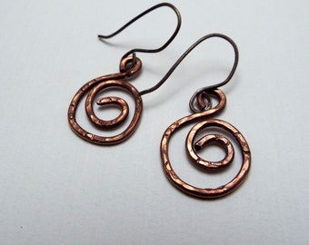 Simple Hammered and Textured Copper Hoop Dangle Earrings