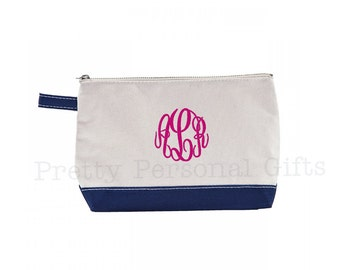 Navy Canvas Make Up Bag with monogram - Free Shipping