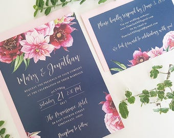 Navy Wedding Invitation, Navy and Pink Wedding, Printable Wedding Invitation, Floral Wedding, Navy and Pink, Navy and Blush