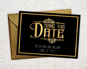 "Save The Date Cards - 5"" x 7"" Gatsby Wedding Announcement Cards - Save The Dates - Personalized Save the Dates - Photo Cards - #satd-274"