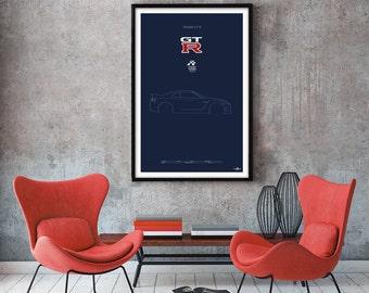 Nissan GT-R Poster, Nissan GT-R print, Car poster print, Retro Car print, Nissan, car poster, Minimalist car poster