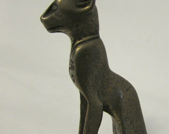 Cat Figurine, Pewter, Small, Egyptian Style. 1970's