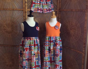 BROTHER SISTER SET girl's white, navy, pink or white tank dress with matching boys shorts in Madras Plaid...up to size 8!