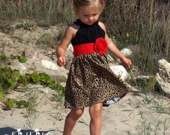 cheetah dress, cheetah print dress, cheetah birthday, cheetah outfit, cheetah party, red and cheetah, girls cheetah dress, safari dress