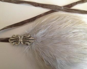 Silver Flapper headpiece, feather headband, bridal headpiece silver feather custom Art Deco feather headband gray feather silver feather