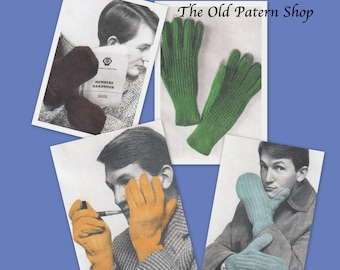 Gloves and Mitts for Men - PDF - Repurposed Vintage Knitting Pattern.
