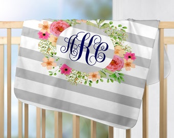 Personalized gifts and monogrammed products by aspenandivygifts personalized baby blanket floral baby blanket custom baby blanket with floral wreath personalized baby shower gift for girls negle Gallery