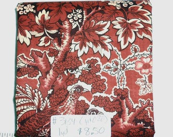 Fabric -1yd piece Old Fashioned Brown/Sepia/Birds -Grouse/Quail/Partridge -Floral/Leaves/outdoor/rustic/vintage type print(#yd080) -Benertex