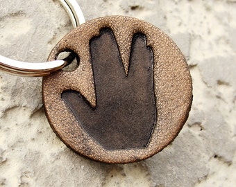 Keychain Star Trek Live Long and Prosper Small Leather