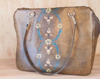 Leather Purse - Melissa pattern with bees - Travel Bag - Weekender - Stewardess Bag - Handmade Leather Large Purse in Antique Brown and gold