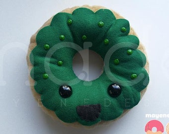 green apple donut, large felt plush