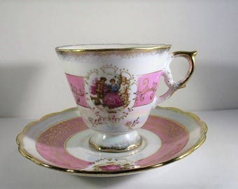 Vintage Lusterware Teacup & Saucer, Japanese Footed Tea Cups, Pearlized Luster, Courting Couple, Pink Bands, Gold Chintz, Japan, 1960's