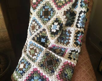 Hand Crocheted Granny Square Throw