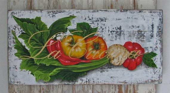 La Cucina Acrylic original acrylic painting on rustic reclaimed solid wood board