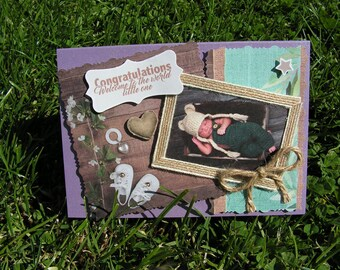 Boy or girl birth congratulations card