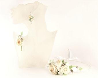 wedding jewellery, peony jewelery, hair peony, bridal flowers, wedding hair, bride hair accessory, groom boutonniere,