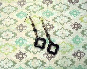 Black and Brass Earrings (2285)