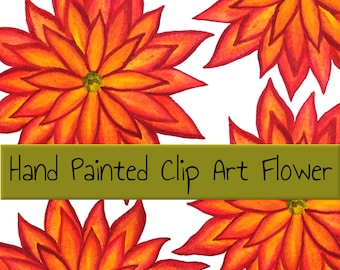 Hand Painted Clip Art Flower Flame Flower Inktense Orange Red Flower Yellow Flower Digital Clip art Clipart fire PNG with clear background