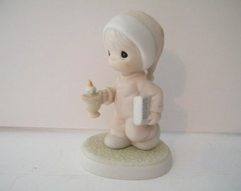 ON SALE Precious Moments Bedtime figurine Now I Lay Me Down To Sleep, Vintage  Retired, book and candle, bedtime stories, collectible